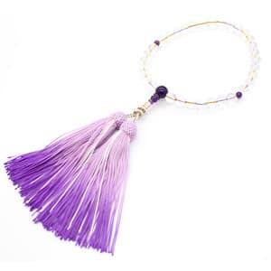 水晶8mm 紫水晶入 いろは通し 喜芳仕立て 暈正絹
