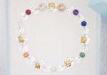 お客さまの心の想いを形に…念珠ブレスレット。「麒麟と四神金彫り水晶&レインボーカラーストーン」