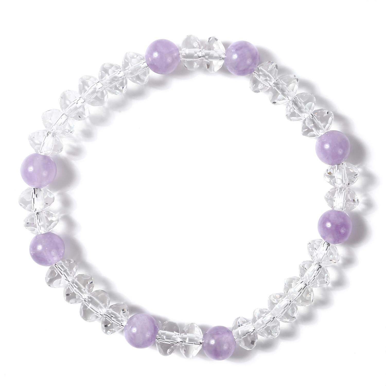 水晶 クリスタル スターシェイプカット レディース イラスティック ブレスレット | 紫 パープル