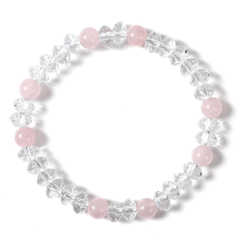 水晶 クリスタル スターシェイプカット レディース イラスティック ブレスレット | ピンク