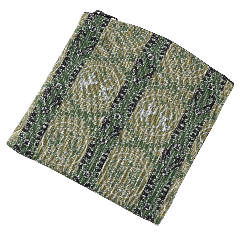 正倉院 男性用 数珠袋 念珠入れ チャック付 ポーチ ケース 13×13cm 外箱付 日本製/緑 グリーン