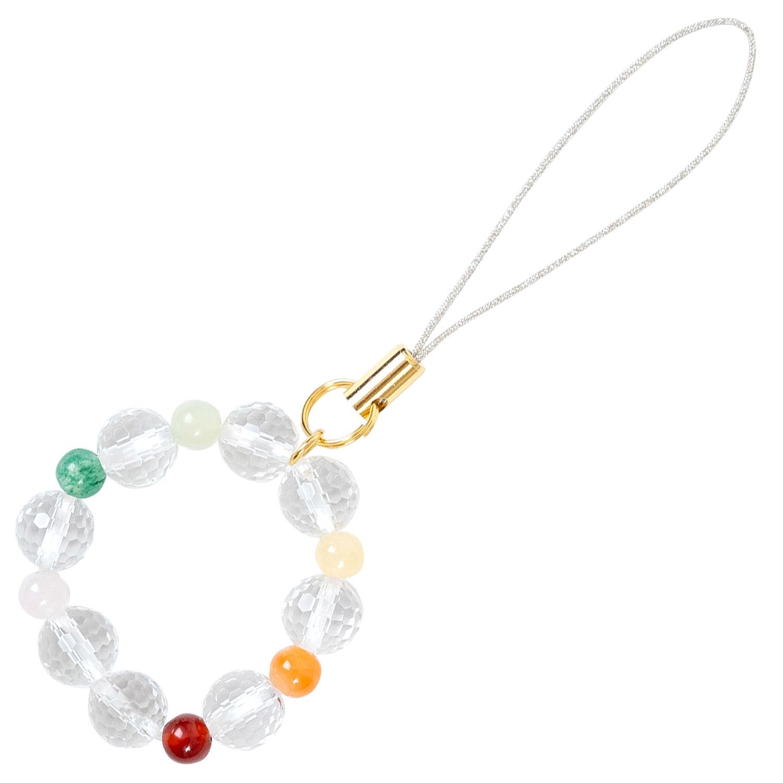 数珠屋 が つくる 願い を 叶える カラー パワーストーン キーホルダー ( 色 の 力 ) / 赤・オレンジ・黄色・緑・ピンク