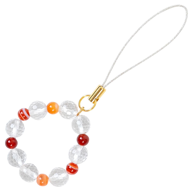 数珠屋 が つくる 願い を 叶える カラー パワーストーン キーホルダー ( 色 の 力 ) / 赤・オレンジ