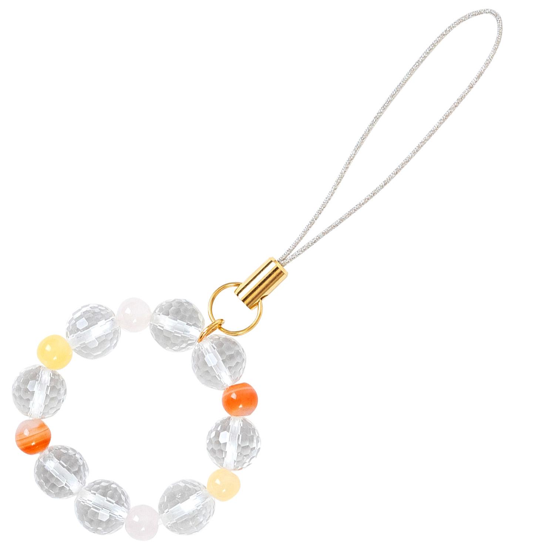 数珠屋 が つくる 願い を 叶える カラー パワーストーン キーホルダー ( 色 の 力 ) / オレンジ・黄色・ピンク