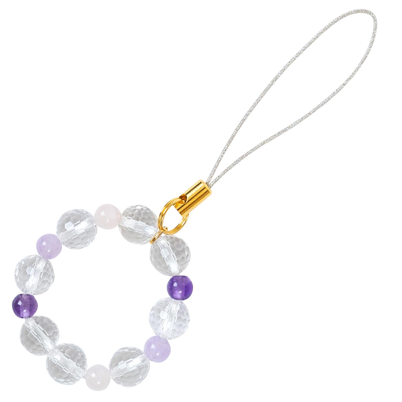 数珠屋 が つくる 願い を 叶える カラー パワーストーン キーホルダー ( 色 の 力 ) / 紫・ピンク