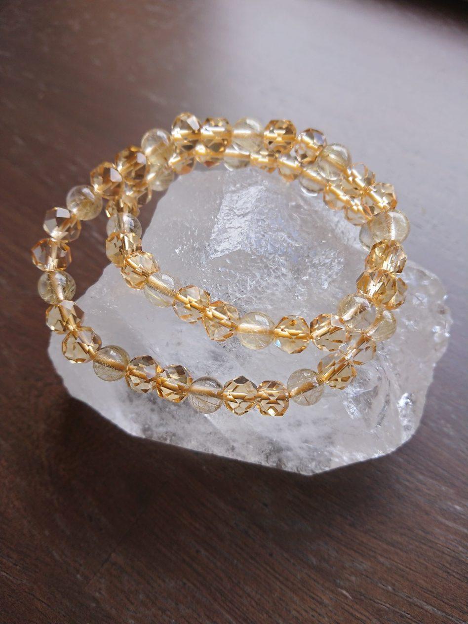 新作「金線・黄水晶ゴールド二重ブレスレット」